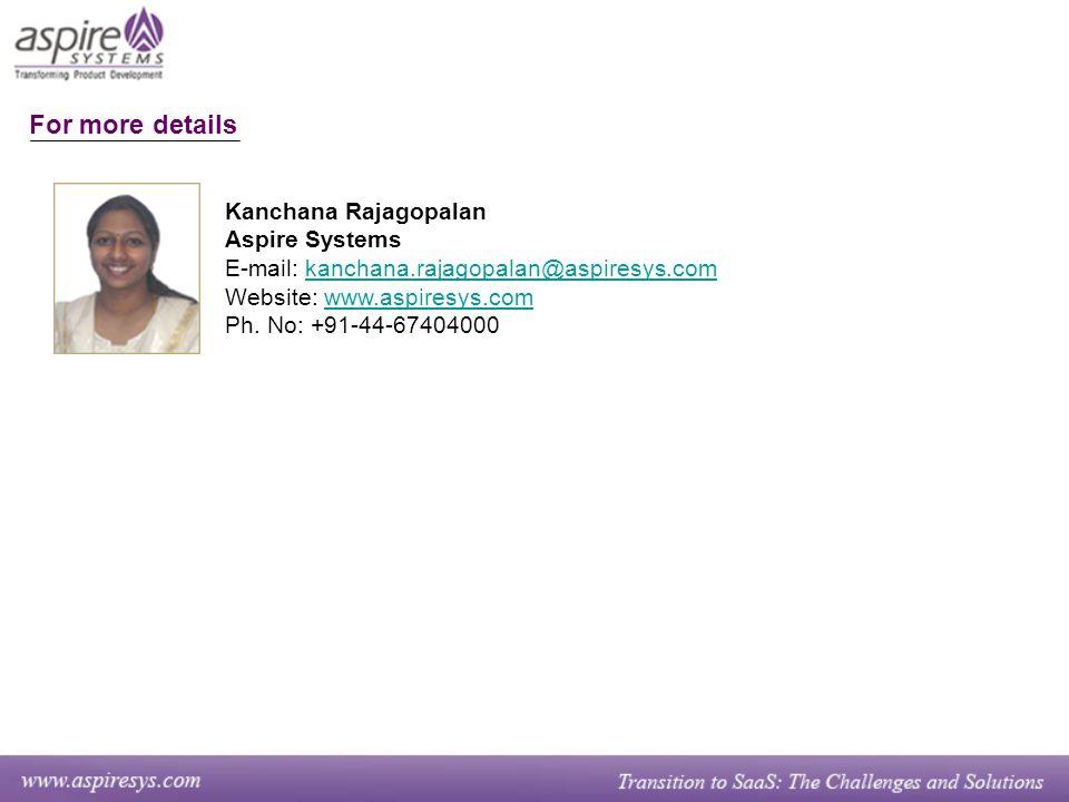 Kanchana Rajagopalan Aspire Systems E-mail: kanchana.rajagopalan@aspiresys.comkanchana.rajagopalan@aspiresys.com Website: www.aspiresys.comwww.aspiresys.com Ph.