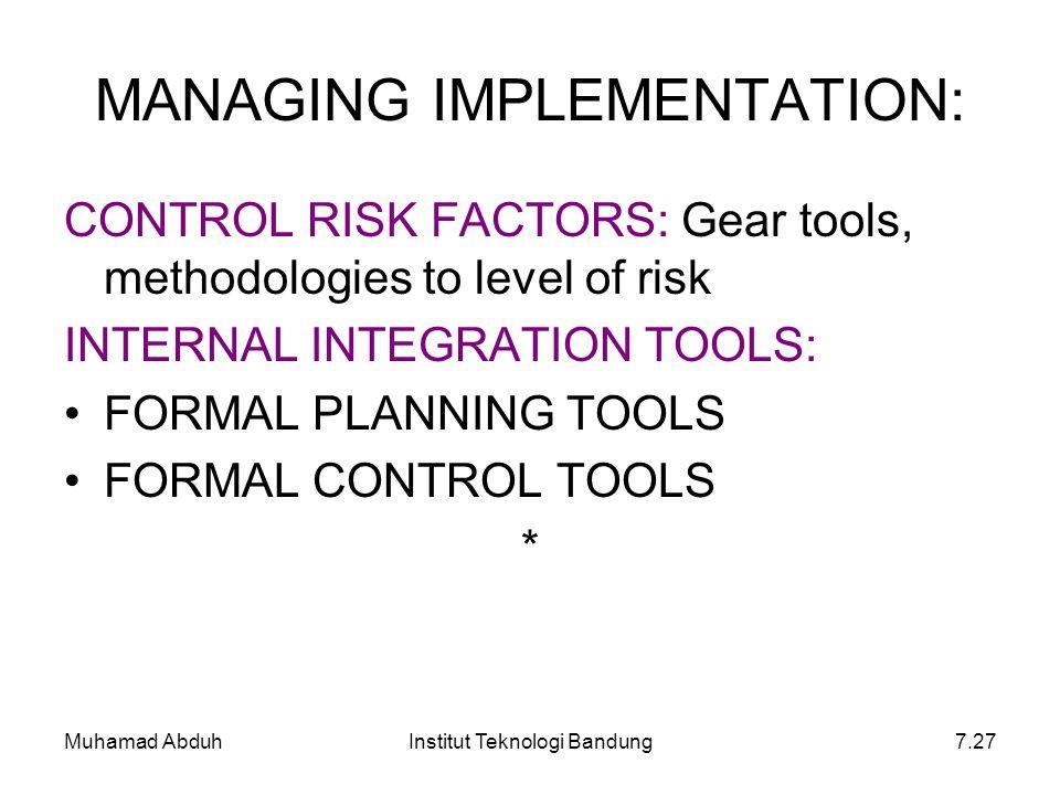 Muhamad AbduhInstitut Teknologi Bandung7.27 MANAGING IMPLEMENTATION: CONTROL RISK FACTORS: Gear tools, methodologies to level of risk INTERNAL INTEGRA