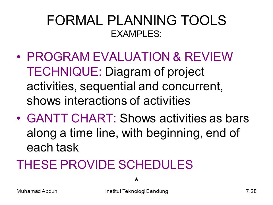 Muhamad AbduhInstitut Teknologi Bandung7.28 FORMAL PLANNING TOOLS EXAMPLES: PROGRAM EVALUATION & REVIEW TECHNIQUE: Diagram of project activities, sequ