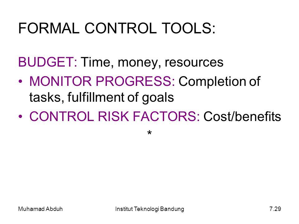 Muhamad AbduhInstitut Teknologi Bandung7.29 FORMAL CONTROL TOOLS: BUDGET: Time, money, resources MONITOR PROGRESS: Completion of tasks, fulfillment of