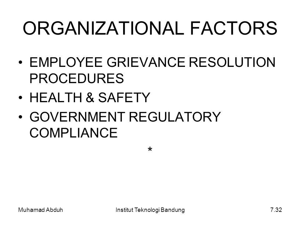 Muhamad AbduhInstitut Teknologi Bandung7.32 ORGANIZATIONAL FACTORS EMPLOYEE GRIEVANCE RESOLUTION PROCEDURES HEALTH & SAFETY GOVERNMENT REGULATORY COMP