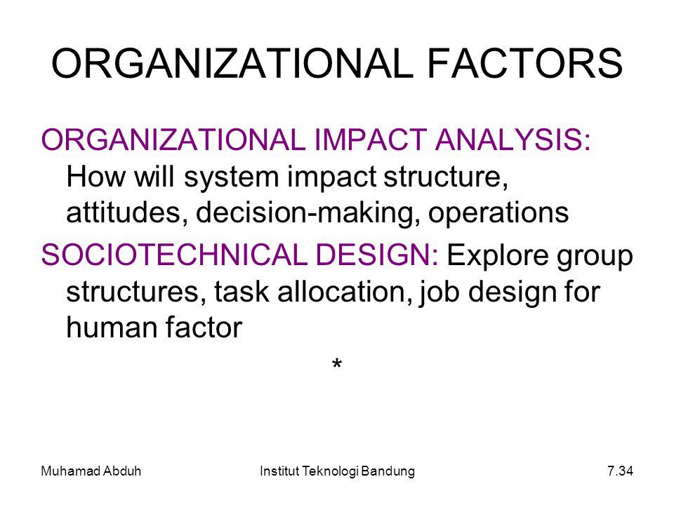 Muhamad AbduhInstitut Teknologi Bandung7.34 ORGANIZATIONAL IMPACT ANALYSIS: How will system impact structure, attitudes, decision-making, operations S