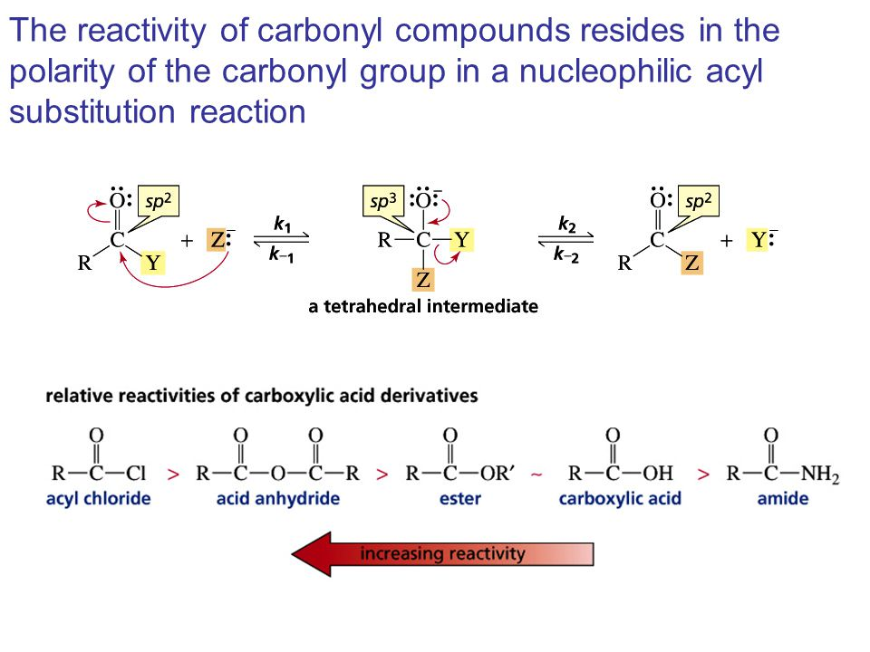 The reactivity of carbonyl compounds resides in the polarity of the carbonyl group in a nucleophilic acyl substitution reaction