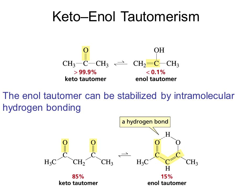 Keto–Enol Tautomerism The enol tautomer can be stabilized by intramolecular hydrogen bonding