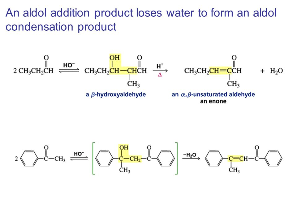 An aldol addition product loses water to form an aldol condensation product