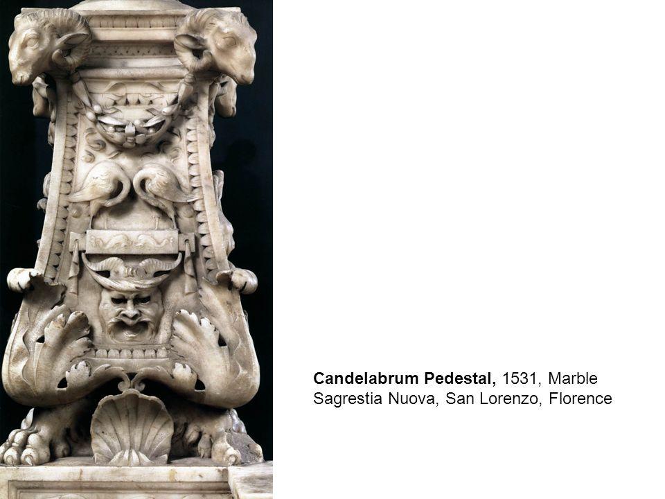 Medici Madonna, between Sts Cosmas and Damian, 1521-31, Marble, Sagrestia Nuova, San Lorenzo, Florence
