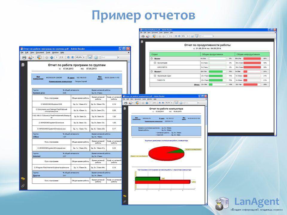 LanAgent «В ладея информацией, владеешь миром » Пример отчетов