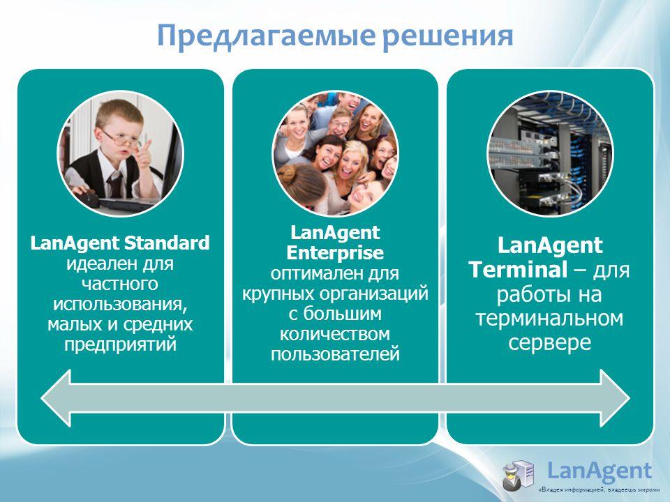 LanAgent Standard идеален для частного использования, малых и средних предприятий LanAgent Enterprise оптимален для крупных организаций с большим коли