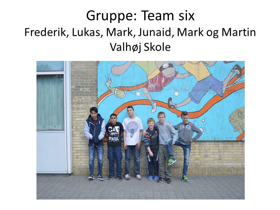 Gruppe: Team six Frederik, Lukas, Mark, Junaid, Mark og Martin Valhøj Skole