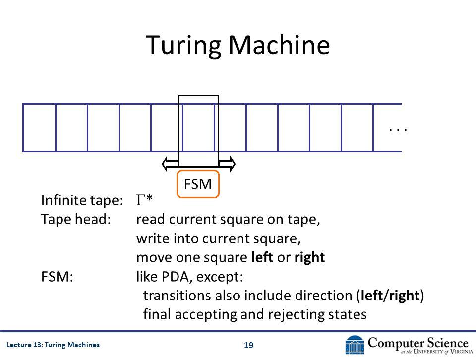 19 Lecture 13: Turing Machines Turing Machine...
