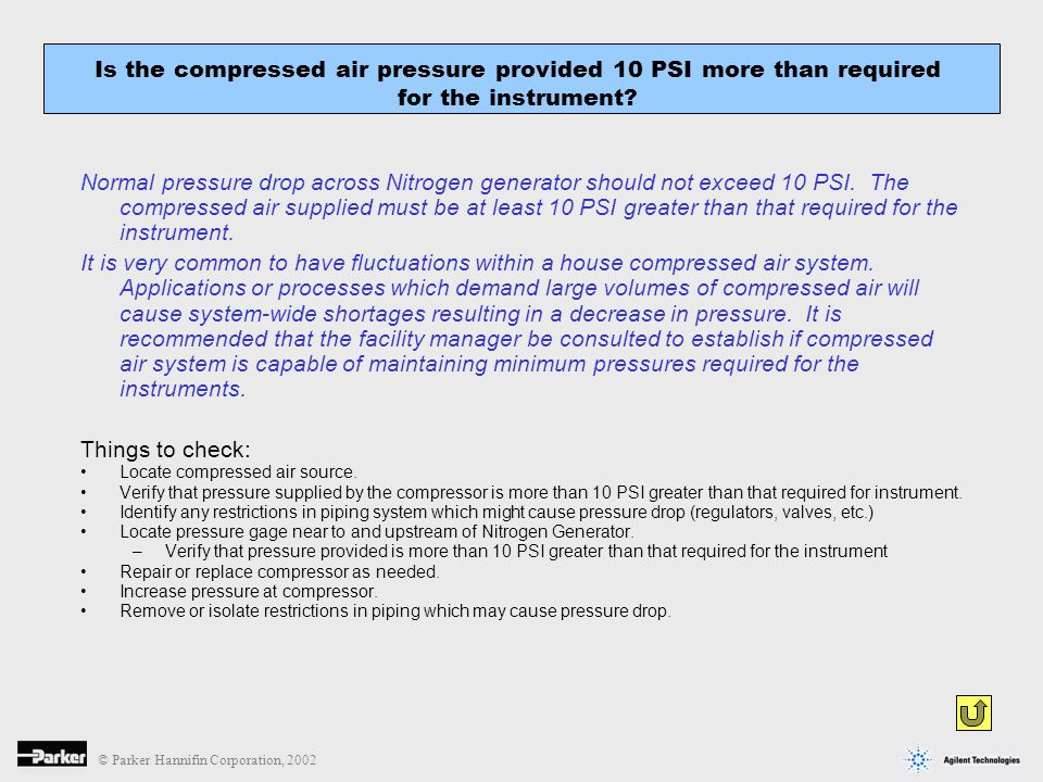 © Parker Hannifin Corporation, 2002 Normal pressure drop across Nitrogen generator should not exceed 10 PSI. The compressed air supplied must be at le