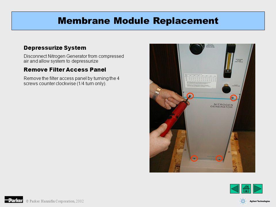 © Parker Hannifin Corporation, 2002 Depressurize System Disconnect Nitrogen Generator from compressed air and allow system to depressurize Remove Filt