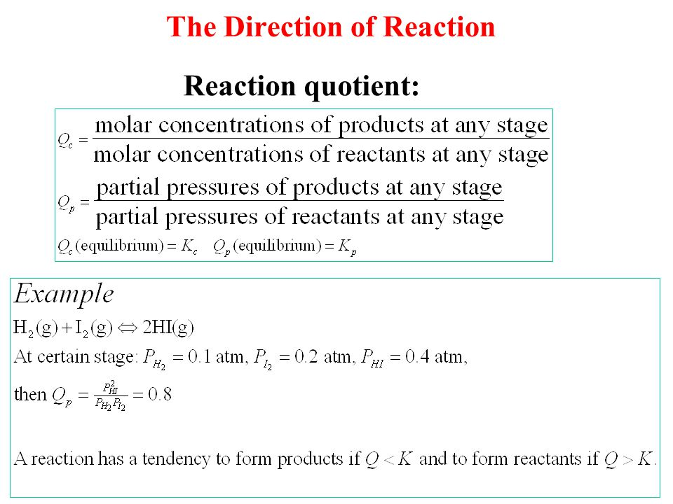 The Direction of Reaction Reaction quotient:
