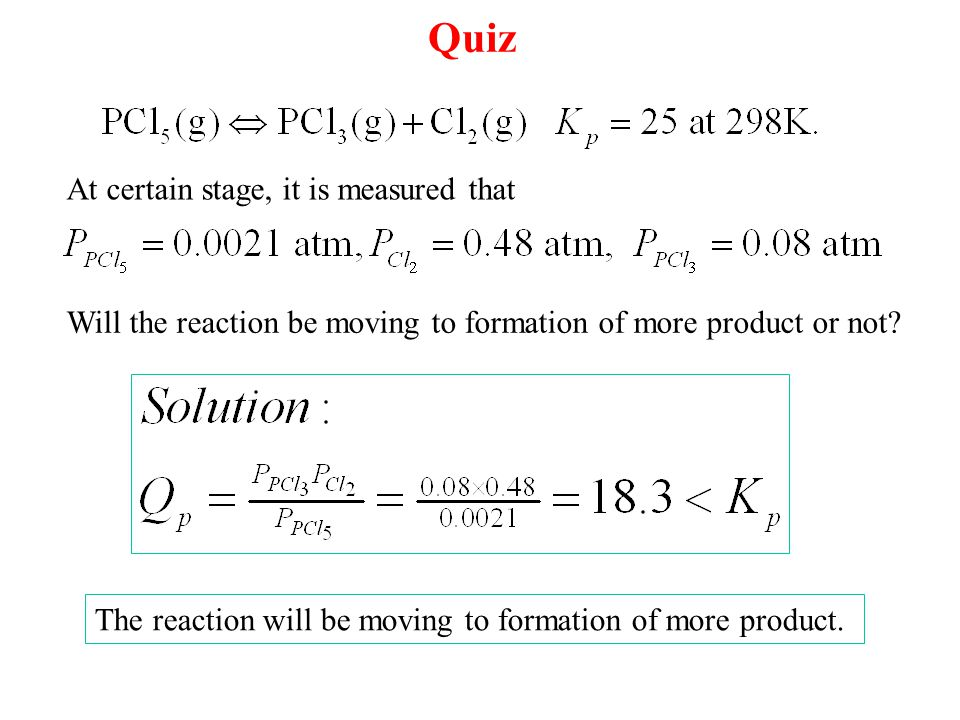 Quiz At certain stage, it is measured that Will the reaction be moving to formation of more product or not.