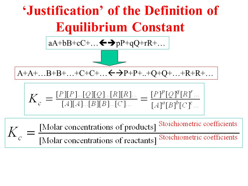 'Justification' of the Definition of Equilibrium Constant aA+bB+cC+…  pP+qQ+rR+… A+A+…B+B+…+C+C+…  P+P+..+Q+Q+…+R+R+…
