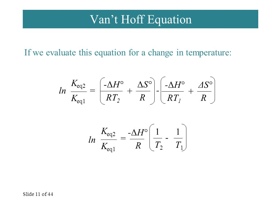 Slide 11 of 44 Van't Hoff Equation If we evaluate this equation for a change in temperature: ln = -ΔH° RT 2 ΔS° R + -ΔH° RT 1 ΔS° R + - = -ΔH° R 1 T2T2 1 T1T1 - K eq1 K eq2 ln K eq1 K eq2