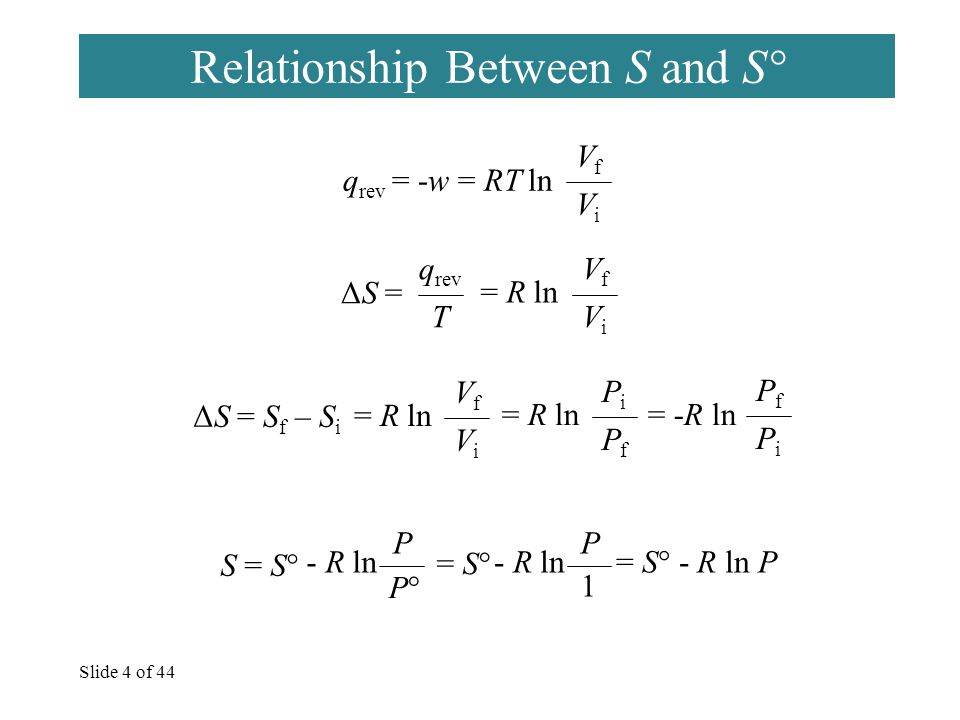 Slide 4 of 44 Relationship Between S and S° q rev = -w = RT ln VfVf ViVi ΔS = q rev T = R ln VfVf ViVi ΔS = S f – S i = R ln VfVf ViVi PiPi PfPf = -R ln PfPf PiPi S = S° - R ln P P°P° = S° - R ln P 1 = S° - R ln P
