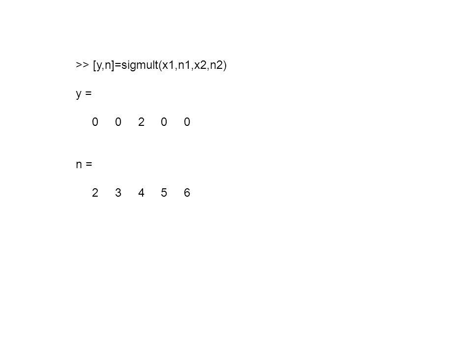 >> [y,n]=sigmult(x1,n1,x2,n2) y = 0 0 2 0 0 n = 2 3 4 5 6
