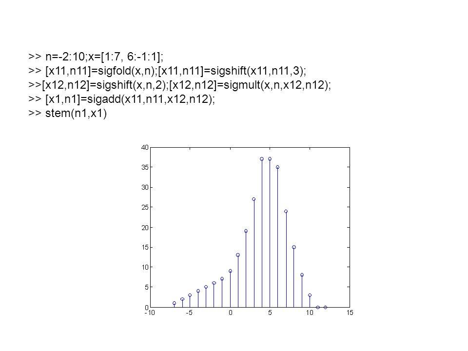 >> n=-2:10;x=[1:7, 6:-1:1]; >> [x11,n11]=sigfold(x,n);[x11,n11]=sigshift(x11,n11,3); >>[x12,n12]=sigshift(x,n,2);[x12,n12]=sigmult(x,n,x12,n12); >> [x