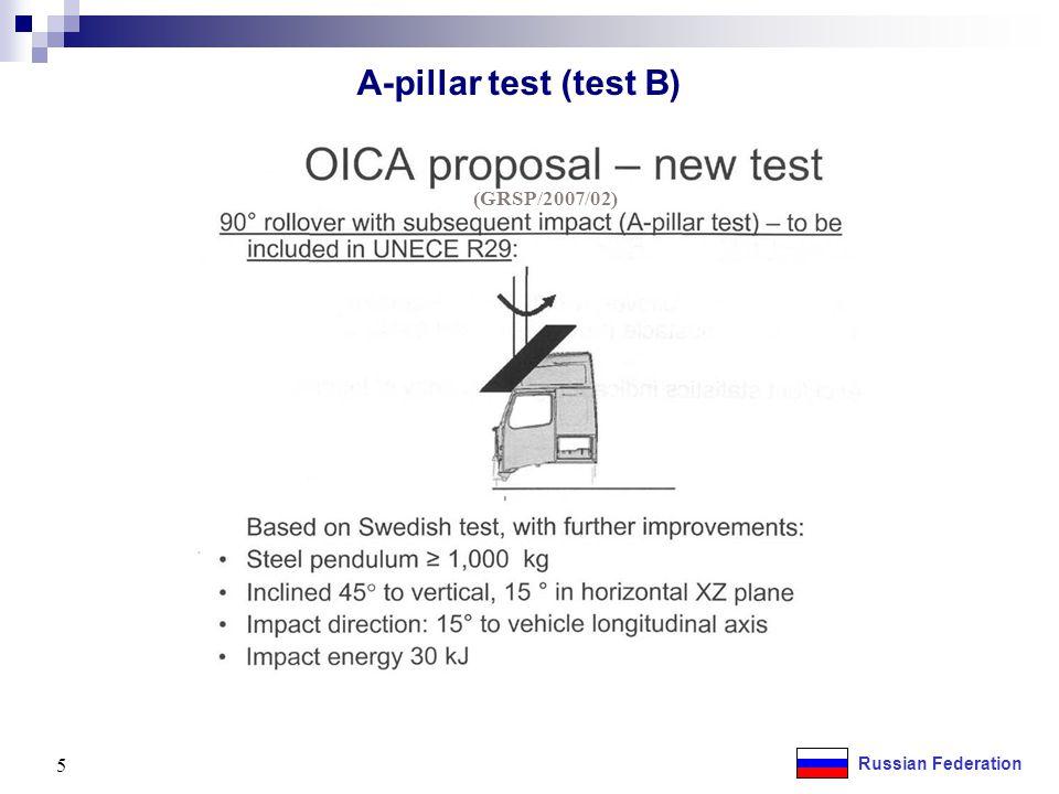 A-pillar test (test B) 5 (GRSP/2007/02)