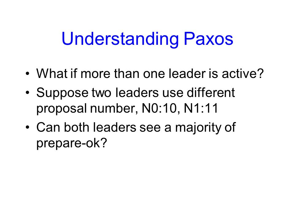 Understanding Paxos What if more than one leader is active.