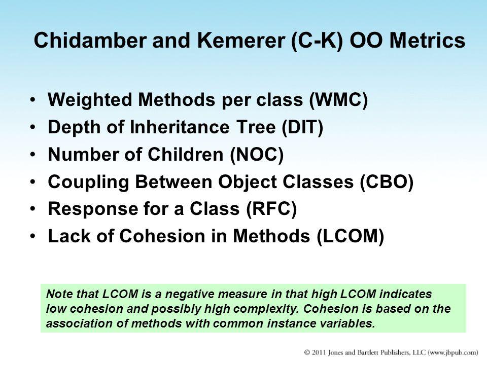 Chidamber and Kemerer (C-K) OO Metrics Weighted Methods per class (WMC) Depth of Inheritance Tree (DIT) Number of Children (NOC) Coupling Between Obje