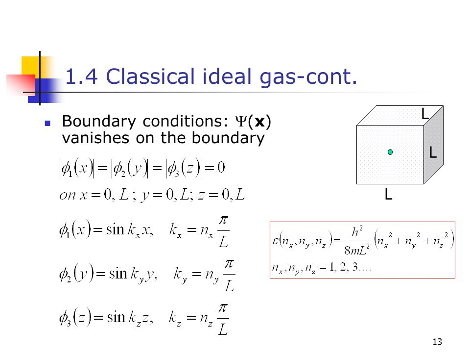 13 1.4 Classical ideal gas-cont. L L L Boundary conditions: (x) vanishes on the boundary