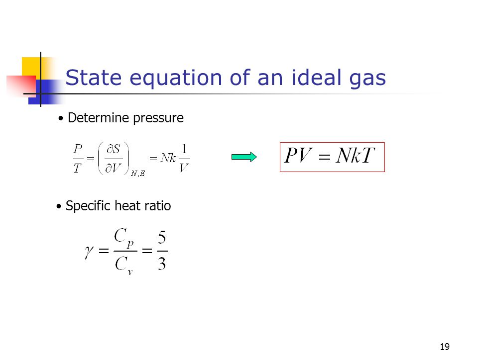 19 State equation of an ideal gas Determine pressure Specific heat ratio