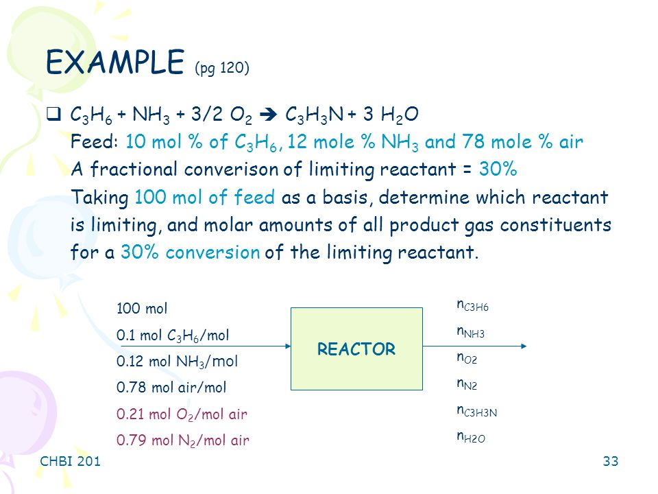 CHBI 20133  C 3 H 6 + NH 3 + 3/2 O 2  C 3 H 3 N + 3 H 2 O Feed: 10 mol % of C 3 H 6, 12 mole % NH 3 and 78 mole % air A fractional converison of limiting reactant = 30% Taking 100 mol of feed as a basis, determine which reactant is limiting, and molar amounts of all product gas constituents for a 30% conversion of the limiting reactant.