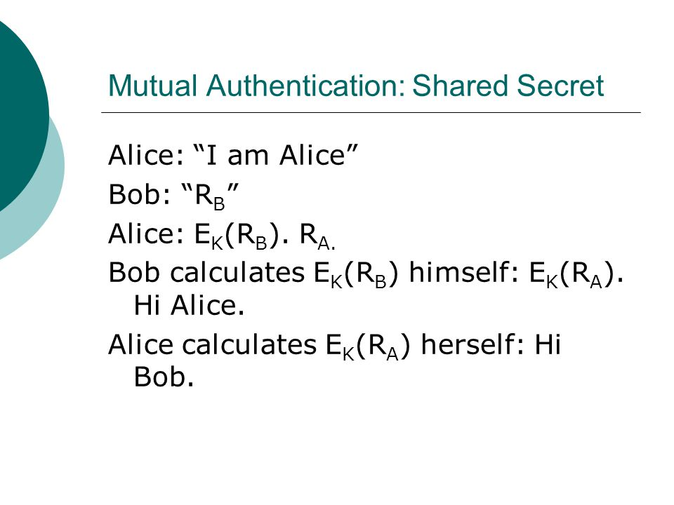 "Mutual Authentication: Shared Secret Alice: ""I am Alice"" Bob: ""R B "" Alice: E K (R B ). R A. Bob calculates E K (R B ) himself: E K (R A ). Hi Alice."