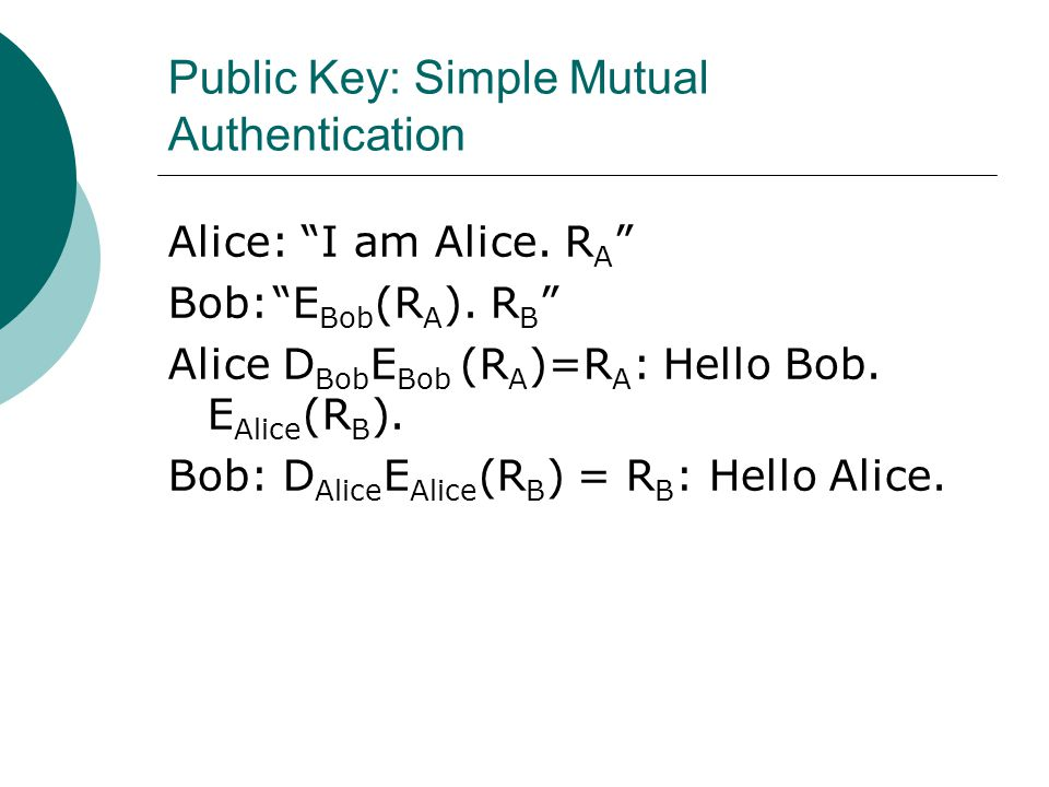 "Public Key: Simple Mutual Authentication Alice: ""I am Alice. R A "" Bob:""E Bob (R A ). R B "" Alice D Bob E Bob (R A )=R A : Hello Bob. E Alice (R B )."