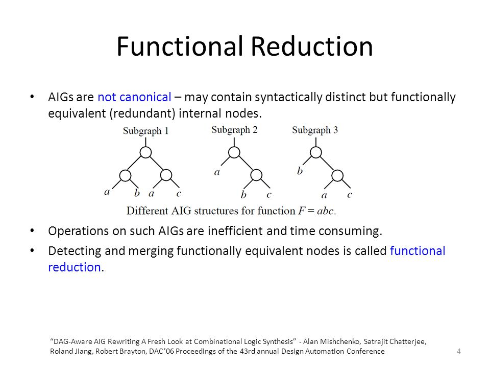 Functional Reduction AIGs are not canonical – may contain syntactically distinct but functionally equivalent (redundant) internal nodes.