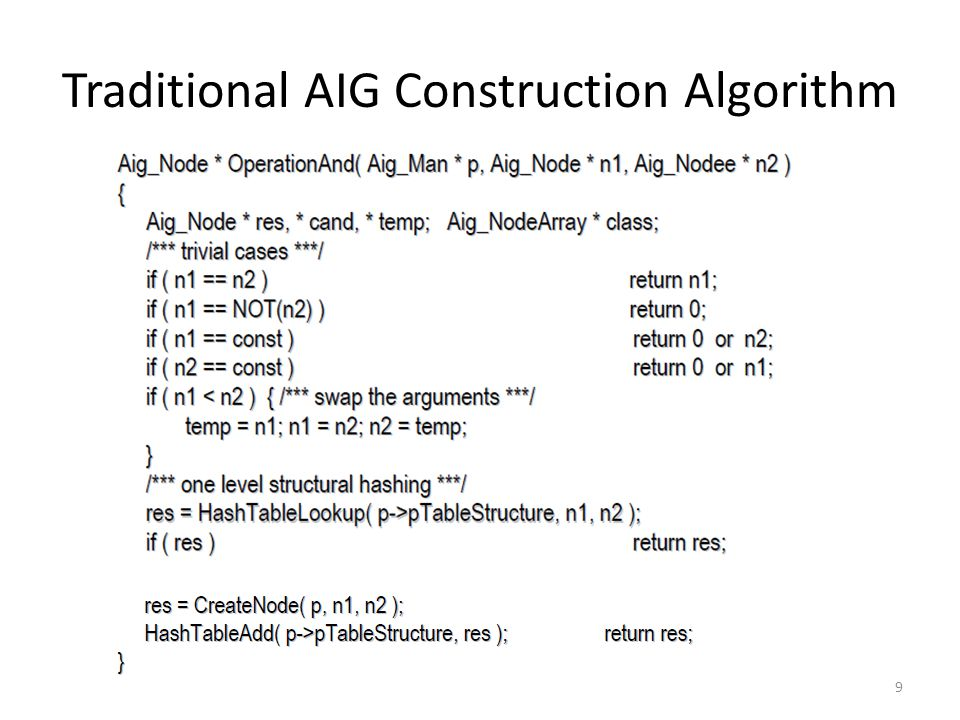 Traditional AIG Construction Algorithm 9