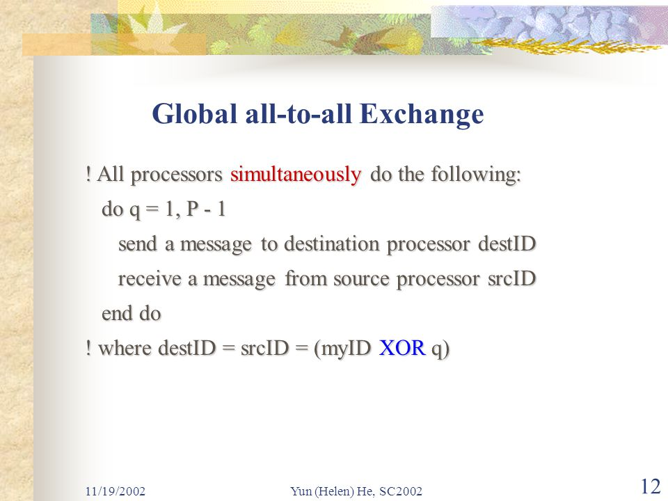11/19/2002Yun (Helen) He, SC2002 12 Global all-to-all Exchange .