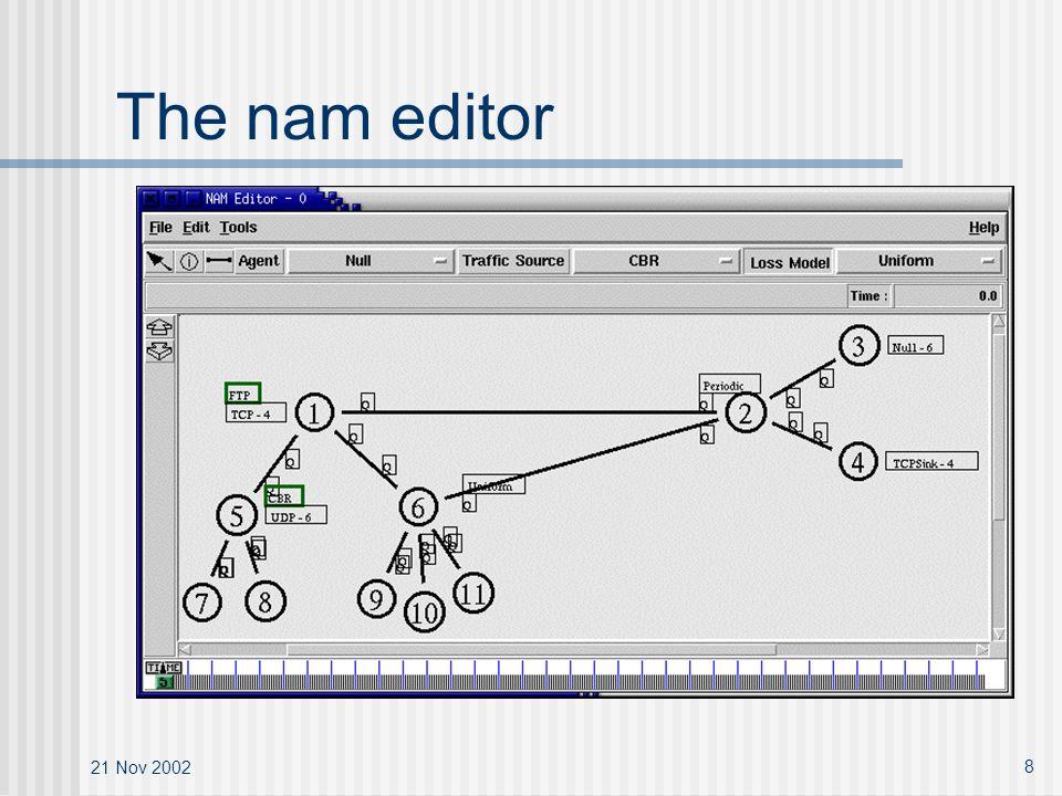 21 Nov 2002 8 The nam editor