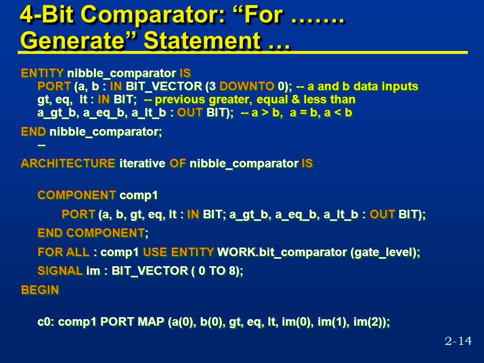2-14 4-Bit Comparator: For …….
