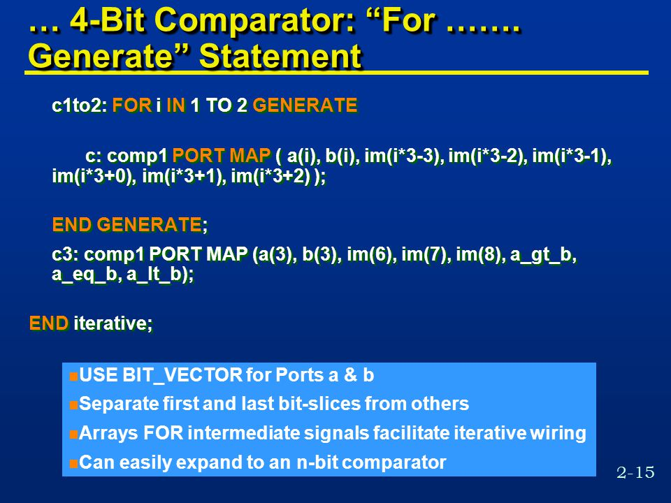 2-15 … 4-Bit Comparator: For …….