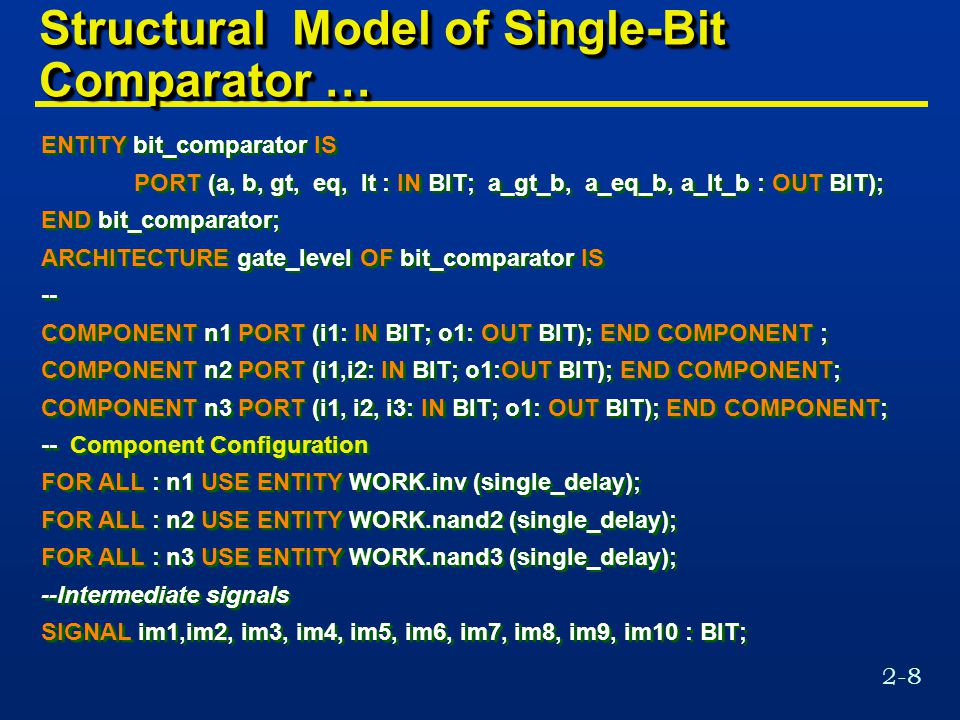 2-8 Structural Model of Single-Bit Comparator … ENTITY bit_comparator IS PORT (a, b, gt, eq, lt : IN BIT; a_gt_b, a_eq_b, a_lt_b : OUT BIT); END bit_comparator; ARCHITECTURE gate_level OF bit_comparator IS -- COMPONENT n1 PORT (i1: IN BIT; o1: OUT BIT); END COMPONENT ; COMPONENT n2 PORT (i1,i2: IN BIT; o1:OUT BIT); END COMPONENT; COMPONENT n3 PORT (i1, i2, i3: IN BIT; o1: OUT BIT); END COMPONENT; -- Component Configuration FOR ALL : n1 USE ENTITY WORK.inv (single_delay); FOR ALL : n2 USE ENTITY WORK.nand2 (single_delay); FOR ALL : n3 USE ENTITY WORK.nand3 (single_delay); --Intermediate signals SIGNAL im1,im2, im3, im4, im5, im6, im7, im8, im9, im10 : BIT; ENTITY bit_comparator IS PORT (a, b, gt, eq, lt : IN BIT; a_gt_b, a_eq_b, a_lt_b : OUT BIT); END bit_comparator; ARCHITECTURE gate_level OF bit_comparator IS -- COMPONENT n1 PORT (i1: IN BIT; o1: OUT BIT); END COMPONENT ; COMPONENT n2 PORT (i1,i2: IN BIT; o1:OUT BIT); END COMPONENT; COMPONENT n3 PORT (i1, i2, i3: IN BIT; o1: OUT BIT); END COMPONENT; -- Component Configuration FOR ALL : n1 USE ENTITY WORK.inv (single_delay); FOR ALL : n2 USE ENTITY WORK.nand2 (single_delay); FOR ALL : n3 USE ENTITY WORK.nand3 (single_delay); --Intermediate signals SIGNAL im1,im2, im3, im4, im5, im6, im7, im8, im9, im10 : BIT;