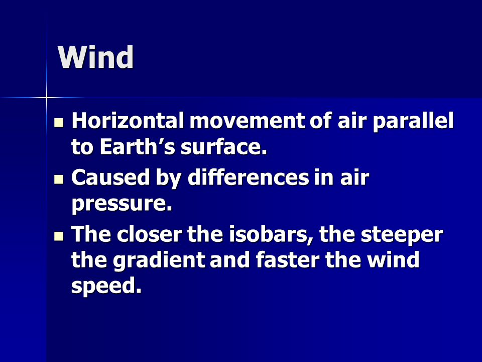 Wind Horizontal movement of air parallel to Earth's surface.