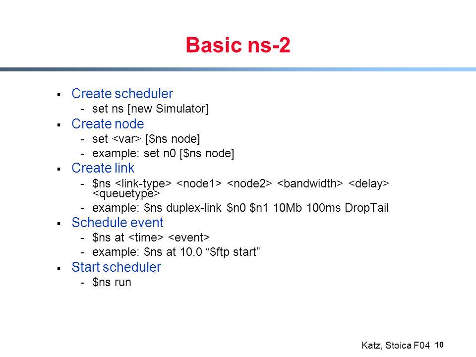 Katz, Stoica F04 10 Basic ns-2  Create scheduler -set ns [new Simulator]  Create node -set [$ns node] -example: set n0 [$ns node]  Create link -$ns