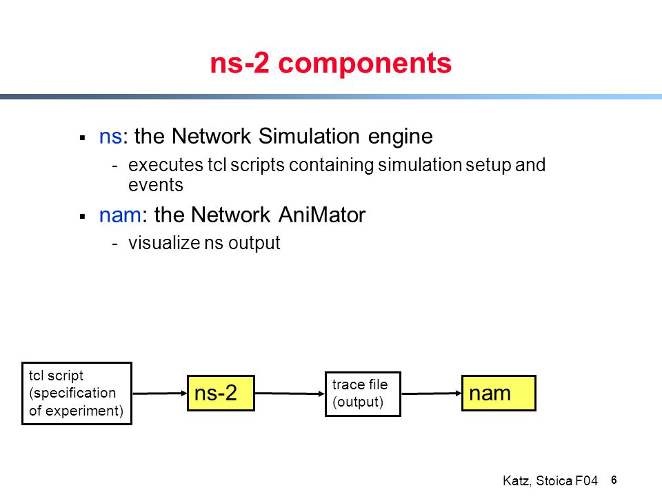 Katz, Stoica F04 6 ns-2 components  ns: the Network Simulation engine -executes tcl scripts containing simulation setup and events  nam: the Network