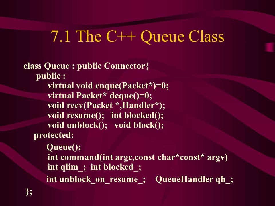7.1 The C++ Queue Class class Queue : public Connector{ public : virtual void enque(Packet*)=0; virtual Packet* deque()=0; void recv(Packet *,Handler*); void resume(); int blocked(); void unblock(); void block(); protected: Queue(); int command(int argc,const char*const* argv) int qlim_; int blocked_; int unblock_on_resume_; QueueHandler qh_; };