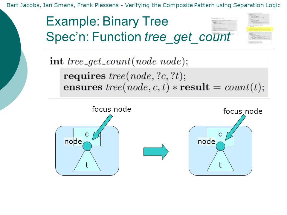 Bart Jacobs, Jan Smans, Frank Piessens - Verifying the Composite Pattern using Separation Logic c Example: Binary Tree Spec'n: Function tree_get_count node t focus node c node t focus node