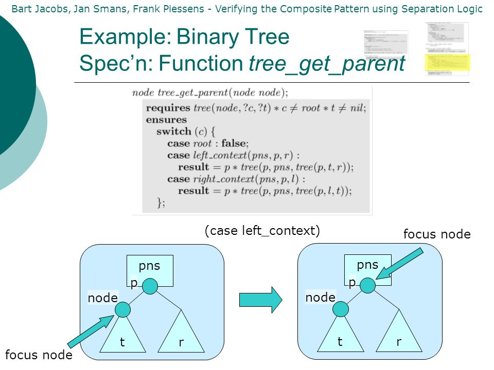 Bart Jacobs, Jan Smans, Frank Piessens - Verifying the Composite Pattern using Separation Logic Example: Binary Tree Spec'n: Function tree_get_parent