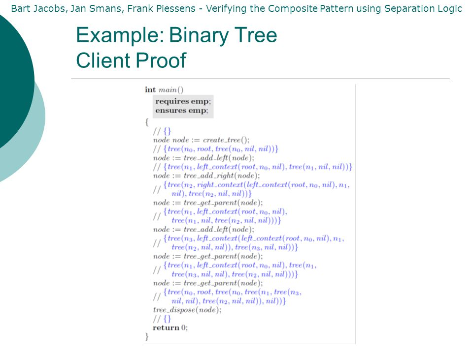 Bart Jacobs, Jan Smans, Frank Piessens - Verifying the Composite Pattern using Separation Logic Example: Binary Tree Client Proof