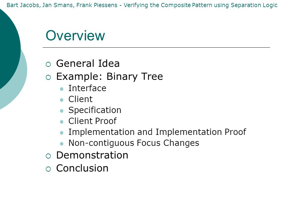 Bart Jacobs, Jan Smans, Frank Piessens - Verifying the Composite Pattern using Separation Logic Overview  General Idea  Example: Binary Tree Interfa