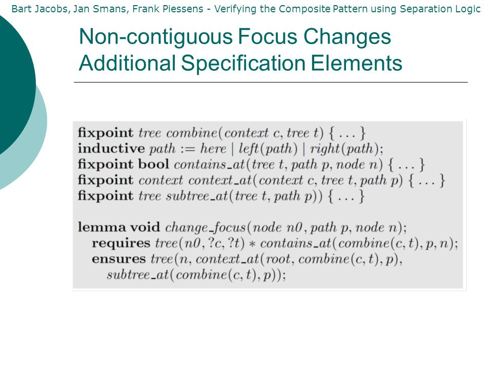 Bart Jacobs, Jan Smans, Frank Piessens - Verifying the Composite Pattern using Separation Logic Non-contiguous Focus Changes Additional Specification Elements