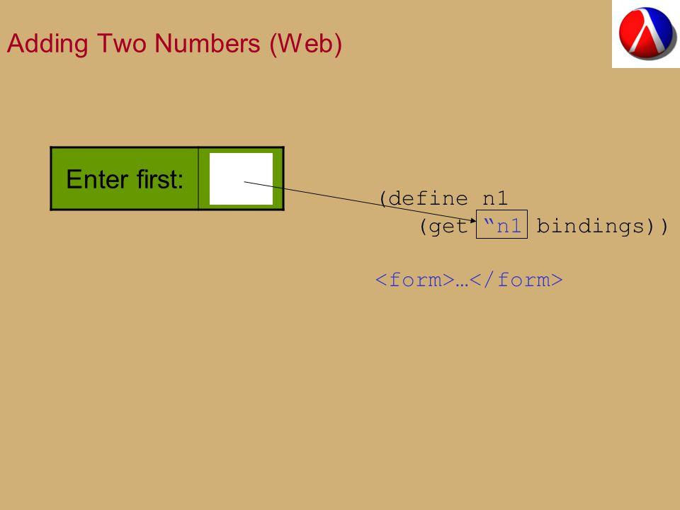 Adding Two Numbers (Web) Enter first: (define n1 (get n1 bindings)) …