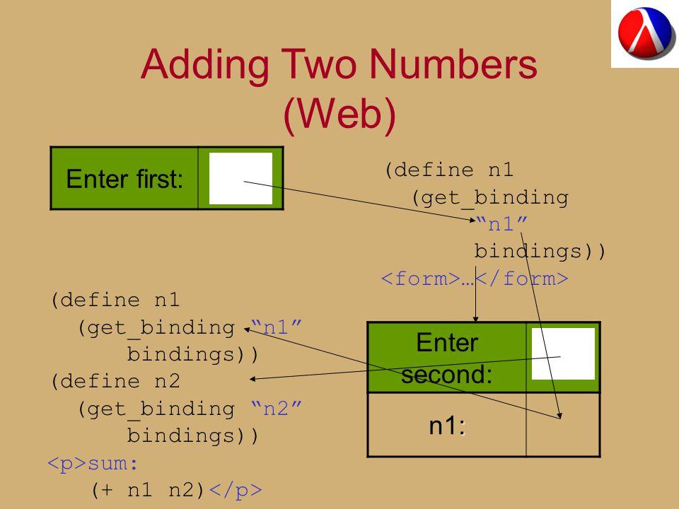 Enter second: : n1: Adding Two Numbers (Web) Enter first: (define n1 (get_binding n1 bindings)) … Enter second: (define n1 (get_binding n1 bindings)) (define n2 (get_binding n2 bindings)) sum: (+ n1 n2)