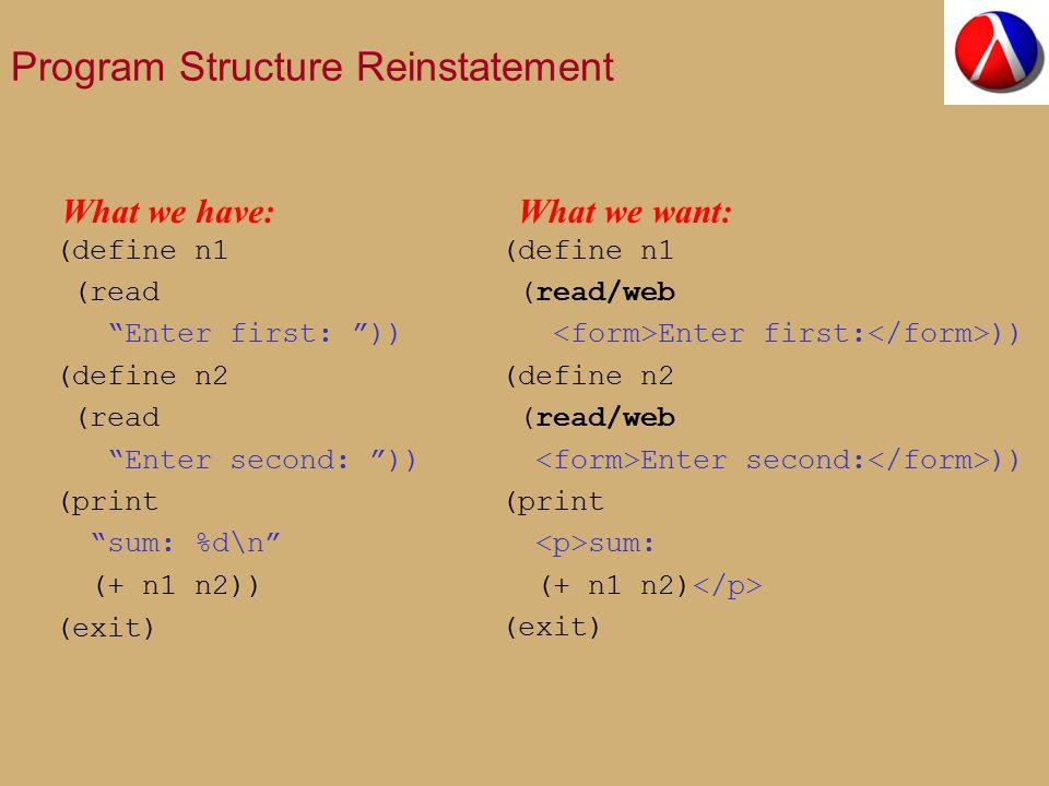 Program Structure Reinstatement (define n1 (read Enter first: )) (define n2 (read Enter second: )) (print sum: %d\n (+ n1 n2)) (exit) (define n1 (read/web Enter first: )) (define n2 (read/web Enter second: )) (print sum: (+ n1 n2) (exit) What we have:What we want:
